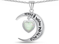 """Star K"""" I Love You To The Moon and Back """" Simulated Opal 7mm Heart Pendant Necklace"""