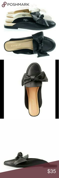 Bow Loafer Mule Beautiful vegan leather bow loafers in black. Syper comfy and brand new! ***Please note they are a size 8 bit fit like 7.5 BAMBOO Shoes Flats & Loafers