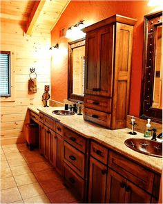Log Home Bathroom from The Adair Home by Log Homes of America.