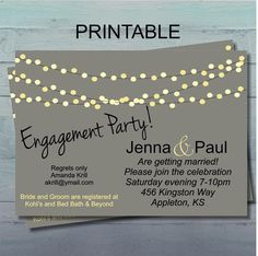 Engagement Party Invitation, Couples Wedding Shower, Garden Party, Announcement