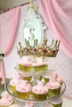 Pink cupcakes at a Disney princess birthday party! See more party ideas at CatchMyParty.com!