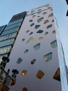 Looks like jewels have been scattered on the side of this structure: Mikimoto building in Tokyo by Toyo Ito