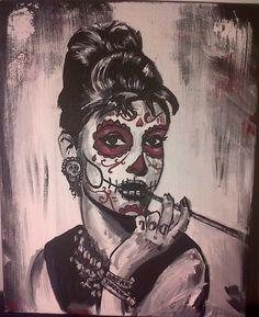 Sugar Skull Audrey Hepburn by ~AdamBayes on deviantART