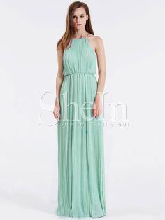Shop Mint Sleeveless Halter Pleated Maxi Dress online. SheIn offers Mint Sleeveless Halter Pleated Maxi Dress & more to fit your fashionable needs.