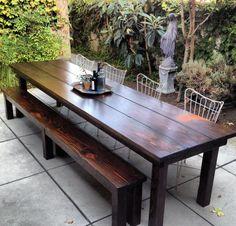 15 Best Rustic Outdoor Design Ideas - Patio Table - Ideas of Patio Table - Rustic Outdoor Tables Rustic Patio Furniture Rustic Outdoor Furniture, Rustic Patio, Farmhouse Furniture, Diy Patio, Wooden Furniture, Patio Ideas, Rustic Wood, Steel Furniture, Rustic Modern