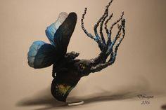OOAK, author, fairy, sculpture fantasy art, octopus, butterfly, wings