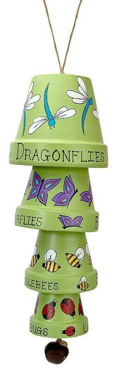 ideas garden art ideas wind chimes clay pots for 2019 Clay Pot Projects, Clay Pot Crafts, Diy Projects To Try, Crafts To Make, Fun Crafts, Craft Projects, Arts And Crafts, Painted Flower Pots, Painted Pots