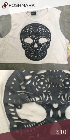 Neon Sugar Skull Boxy Tank Top Day of the Dead Los Muertos Halloween Tanks