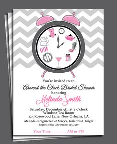 around the clock bridal shower invitation printable or printed with