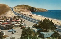 Nostalgia Summer Vintage photo of El Morro trailer park Laguna Beach California in the fifties. Orange County California, Vintage California, California Beach, Southern California, Laguna Beach, The Beach, Long Beach, Summer Beach, California History