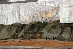 Blood Falls seeps from the end of the Taylor Glacier. Scientists believe a buried saltwater reservoir is partly responsible for the red color, which is a form of reduced iron. Les Fjords, National Science Foundation, Glacier, Ice Castles, Photo Library, Waterfall, Blood, Iron, Photos