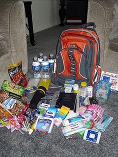 Emergency Survival 72 Hour Kits with comprehensive list and pictures! - reminds me of my sons zombie survival bag lol too funny