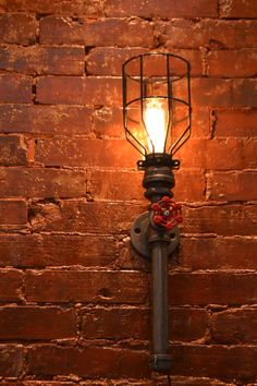 Industrial Steampunk TALL Wall Sconce by WestNinthVintage on Etsy, $103.00