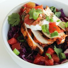 Fresh, Filling, and Fast: 350-Calorie Burrito Bowl: It may seem like a low-calorie meal, but a Chipotle chicken burrito bowl with all the fixings like salsa, cheese, and sour cream can weigh in around 745 calories.