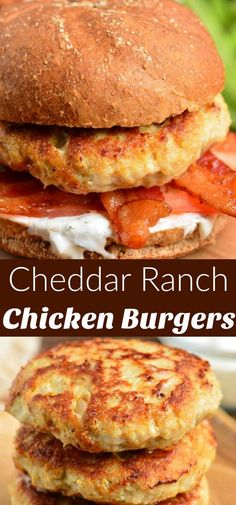 Juicy chicken burgers made with ground chicken and flavored with Ranch seasoning. - Juicy chicken burgers made with ground chicken and flavored with Ranch seasoning mix and cheddar ch - Ground Chicken Burgers, Buffalo Chicken Burgers, Pork Burgers, Hamburgers, Healthy Ground Chicken Recipes, Chicken Burgers Healthy, Quesadilla Burgers, Baked Burgers, Healthy Burger Recipes
