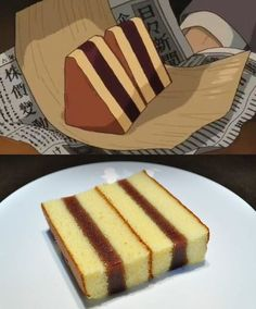 This Is What 12 Foods That You've Seen In Anime Look Like In Real Life Der traditionelle japanische Honigkuchen ist auch als Castella-Kuchen bekannt. Japanese Cake, Japanese Dishes, Japanese Sweets, Mexican Food Recipes, Real Food Recipes, Yummy Food, Healthy Food, Japanese Food Recipes, Sushi Recipes