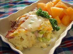 Ham & Swiss Bread Pudding with Mustard Tarragon Sauce. Bread Pudding--not just for dessert. Swiss Desserts, Puddings, Casseroles, Ham, Entrees, Mashed Potatoes, Mustard, Brunch, Food And Drink