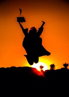 Senior Graduation cap and gown silhouette picture by Deb Henley Photography. #capandgown.  #senior