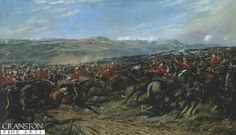 Charge of the Heavy Brigade by G Douglas Giles. The Inniskilling Dragoons during the Charge of the Heavy Brigade during the Battle of Balaclava, Crimean War. (In the distance, the Scots Greys can also be seen in the charge)