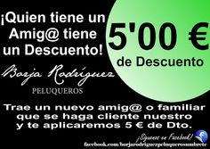 ¡Quien tiene un@ Amig@ tiene un descuento! - Borja Rodríguez Peluqueros Trae a un nuev@ amig@ o familiar que se haga cliente nuestro y te aplicaremos 5 € de descuento en tu servicio. ¡Aprovecha! __________________________________ BORJA RODRÍGUEZ PELUQUEROS FACEBOOK: https://www.facebook.com/borjarodriguezpeluquerosumbrete Av. De los Poetas, 3, Umbrete, Sevilla Tfno. 955 717 242 WEB: http://www.borjarodriguezpeluqueros.com FICHA portalumbrete.com…