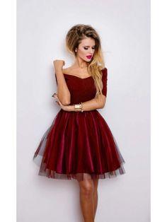 Sukienka rozkloszowana z tiulową spódnicą