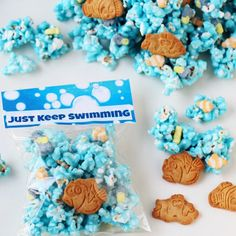 Finding Dory Treats - Just Keep Swimming Popcorn with printable bag toppers.