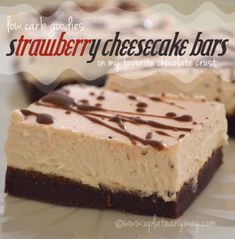 Strawberry Cheesecake Bars » Low Carb » Gluten Free | Up Late Anyway