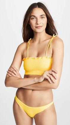 6e47e13704c Peixoto Smocked Bikini Top Yellow Bikini, Polka Dot Bikini, Swimsuits,  Bikinis, Swimwear