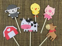 Items similar to Farm Cupcake Toppers; Petting zoo birthday on Etsy Farm Cupcake Toppers, Barnyard Cupcakes, Farm Animal Cupcakes, Farm Animal Party, Barnyard Party, Cupcake Bakery, Zoo Birthday, Animal Birthday, Birthday Parties