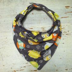 BundleB's $8.00 Baby Bib. Bandana Bib. Drooling Bib. Teething Bib. Owl. Yellow, Orange, Teal, and Grey. Flannel. 100% Cotton. KAM Snaps.  *If item is sold out, request a custom order and I might still have the fabric in stock!