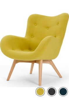 MADE Accent Chair, Shetland Moss Yellow. Doris Armchairs Collection from MADE.COM. Yellow Accent Chairs, Accent Chairs For Sale, Blue Curtains Living Room, Living Rooms, Living Room Rug Placement, Shetland, Tufted Accent Chair, Wooden Armchair, Yellow Home Decor