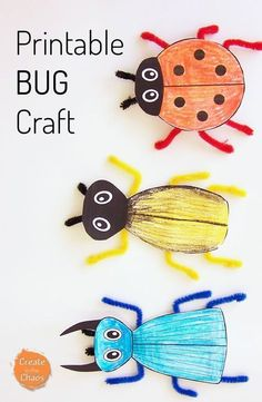 Simple printable bug craft using a free printable template and pipe cleaners. Easy kids activity that goes great with learning about bugs www. Simple printable bug craft using a free p Bug Crafts Kids, Insect Crafts, Crafts For Kids To Make, Summer Crafts, Toddler Crafts, Preschool Crafts, Projects For Kids, Easy Crafts, Art For Kids
