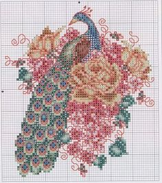 Cross-stitch Pretty Peacocks, part 3... color chart on part 4 & 5... Flashup