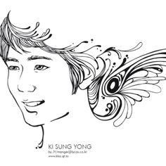 Soccer player Sung Yong Ki.  Illustration by JYK