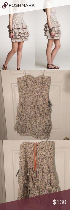 NWT JCrew Daisy Day Dress Strapless liberty print dress with ruffle bottom J. Crew Dresses Strapless