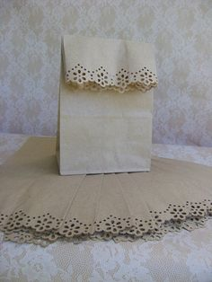 Pretty Simple - 10 decorative paper sacks for gifts, favors for party, country or rustic wedding, giveaways. $4.50, via Etsy.
