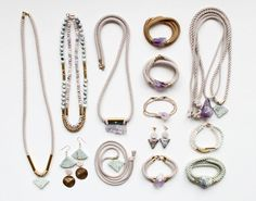 Amethyst and Marble | Amethyst and marble, with rope, brass and a few other pale-hued stones…