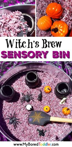 Witch's Brew Sensory Rice Bin for Halloween for toddlers and preschoolers. A fun colored rice Halloween sensory bin for toddlers. #halloween #myboredtoddler #sensoryplay #sensorybin #sensorybins #toddleractivity #toddleractivities #preschoolactivity