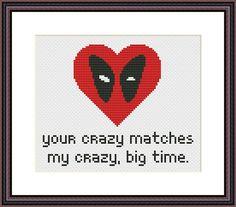 Deadpool Heart Funny Cross Stitch PDF Pattern Your Crazy