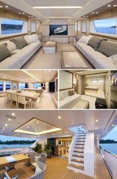 Beyond Comfort: Stunning Interiors in Luxury Yacht - Más allá del confort: impresionantes interiores de yates de lujo.