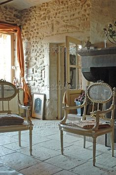 French Rusitc Style--love these rustic stone floors and walls.