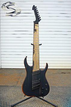 "Skervesen Guitars Ebony attack! Ebony top and ebony matching headstock, pale moon... ebony fretboard. Raptor 8 multiscale 25,5-27"" with piezo ETS saddles bridge and Richter piezo preamp. Mahogany body. neck rosewood/ebony with... ebony/maple binding smile emoticon . @Bare Knuckle Pickups Nailbomb (b) + Cold Sweat (b). Jescar stainless frets, Hipshot locking tuners. Two jack outputs: humbuckers or piezo. One 3-way switch to select humbuckers, second 3-way to select humbuckers/mix/piezo only."