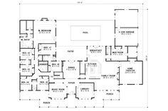 Farmhouse Style House Plan - 7 Beds 6 Baths 6888 Sq/Ft Plan #67-871 Floor Plan - Main Floor Plan - Houseplans.com