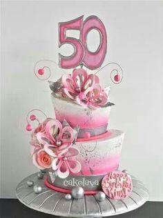 Elegant Pink / Silver topsy turvy cake