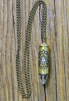 Bullet Necklace Bullet Jewelry Ammo Necklace by SecretGardenNotes