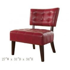 "Accent Chair with Oversized Seating in Red Blended Leather  Features : Oversized #Accent #Chair, red duralble blended leather; *27W x 31""D x 34""H; *Solid wood construction; *Some assembly needed, instruction & hardwares in the box. "" Color : red"