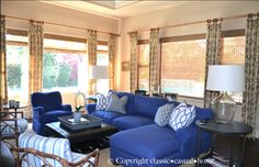 classic • casual • home: Child Friendly Blue & White Family Room Before and After