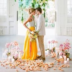 This bride's two-piece brings an unexpected pop of yellow. | 21 Brides Too Bold For White Wedding Dresses
