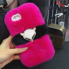 Newest Luxury Bling Fox head Warm Soft Beaver Rabbit Fur Hair phone case for samsungS3 S4. Click visit to buy #RhinestoneCase #rhinestone #case