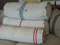 grain sack pillows . . .